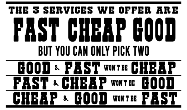 We offer 3 services, Good, Cheap, Fast. However, you can only pick 2.